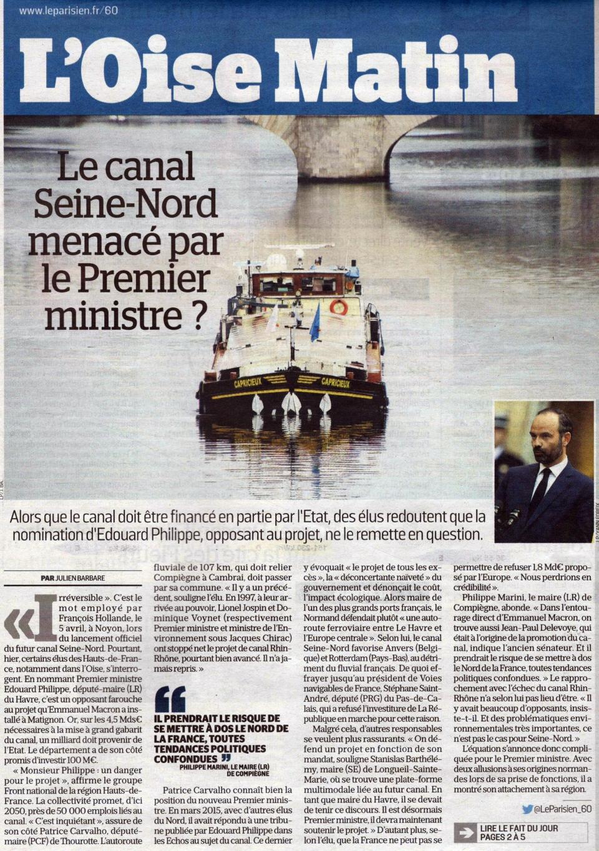Canal Seine Nord menacé_Parisien16mai17